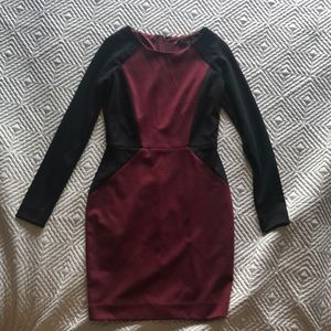 BANANA REPUBLIC long sleeve burgundy dress sz 00P
